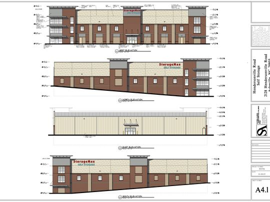These renderings show what the StorageMax on Hendersonville Road will look like. The developer chose brick and aluminum for the exterior. (Photo: Courtesy rendering)
